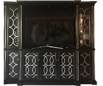 Habersham Furniture Wall Unit/Media Cabinet in Black/Silver