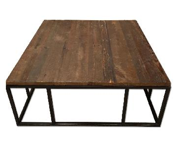 Mitchell Gold Square Wooden Coffee Table w/ Black Iron Base