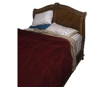 Antique Wood Queen Size Bed Frame