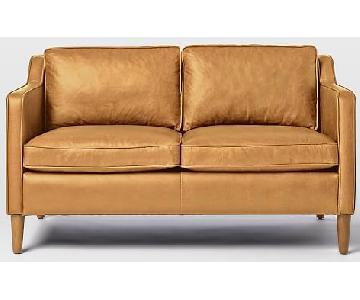 West Elm Hamilton Cognac Leather Loveseat