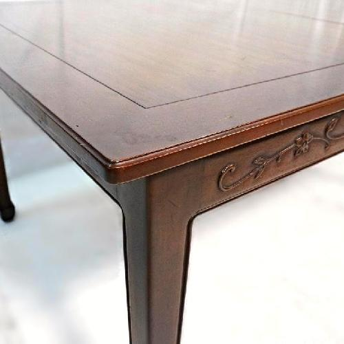 Henredon Signed Carved Mahogany Dining Table w/ 2 Leaves