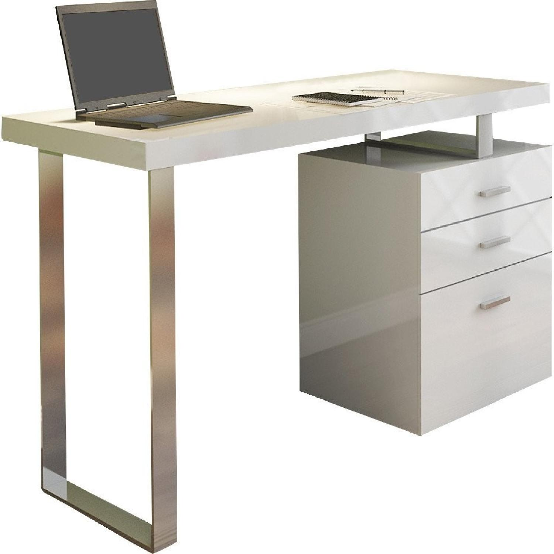 Office Desk In White High Gloss W Chrome Legs Aptdeco