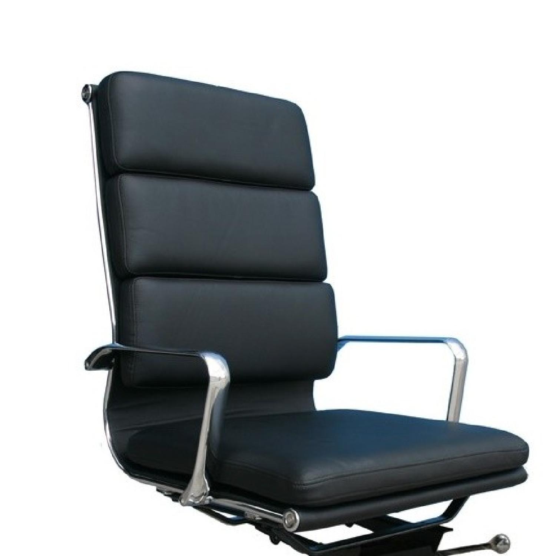 Plush High Back Black Leather Office Chair Aptdeco