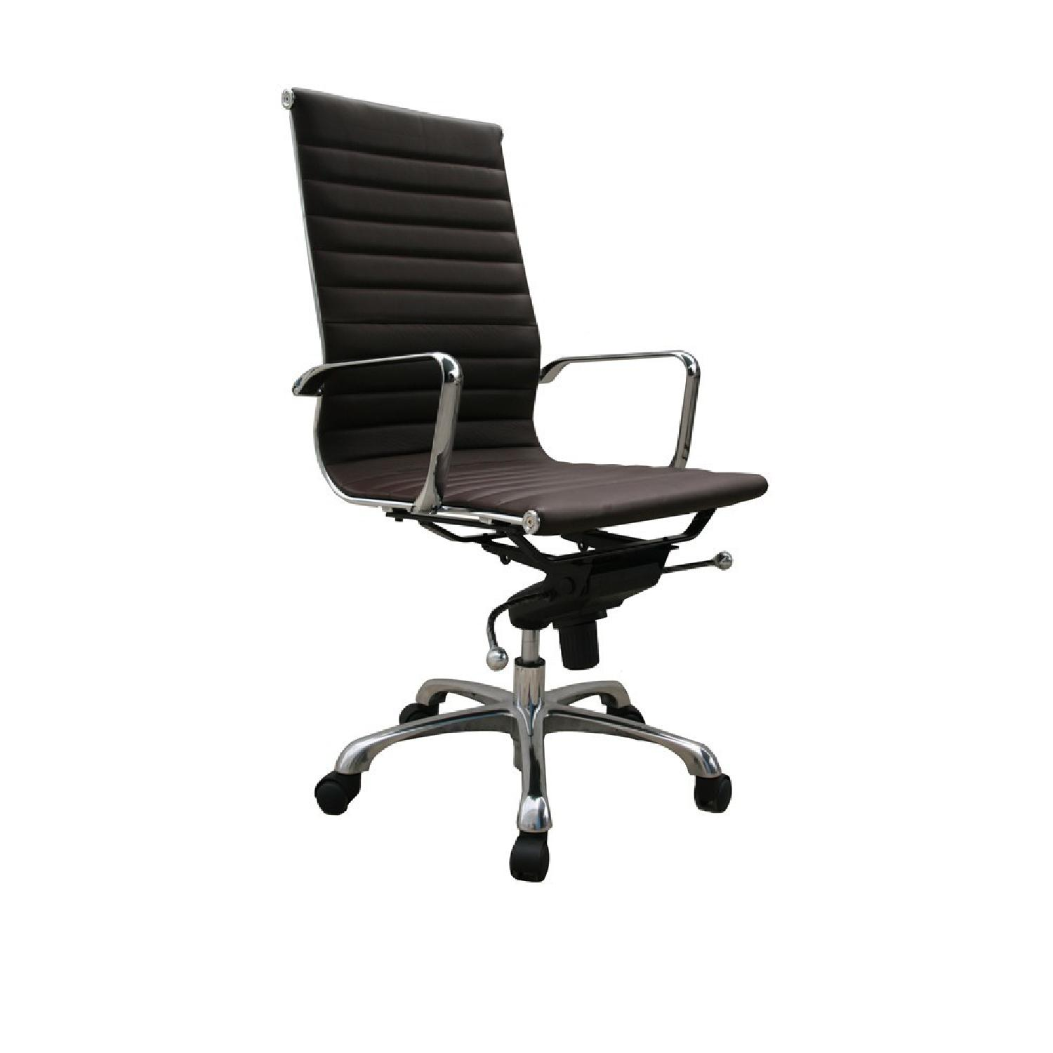 Modern High Back Brown Leatherette Office Chair