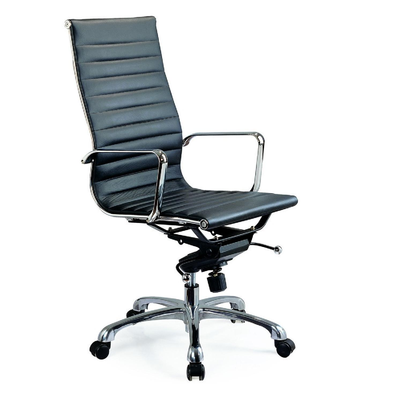 Modern High Back Black Leatherette Office Chair-0