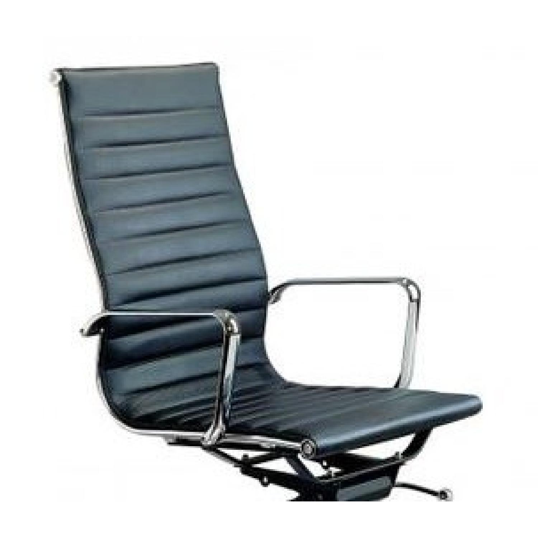 Modern High Back Black Leatherette Office Chair-1