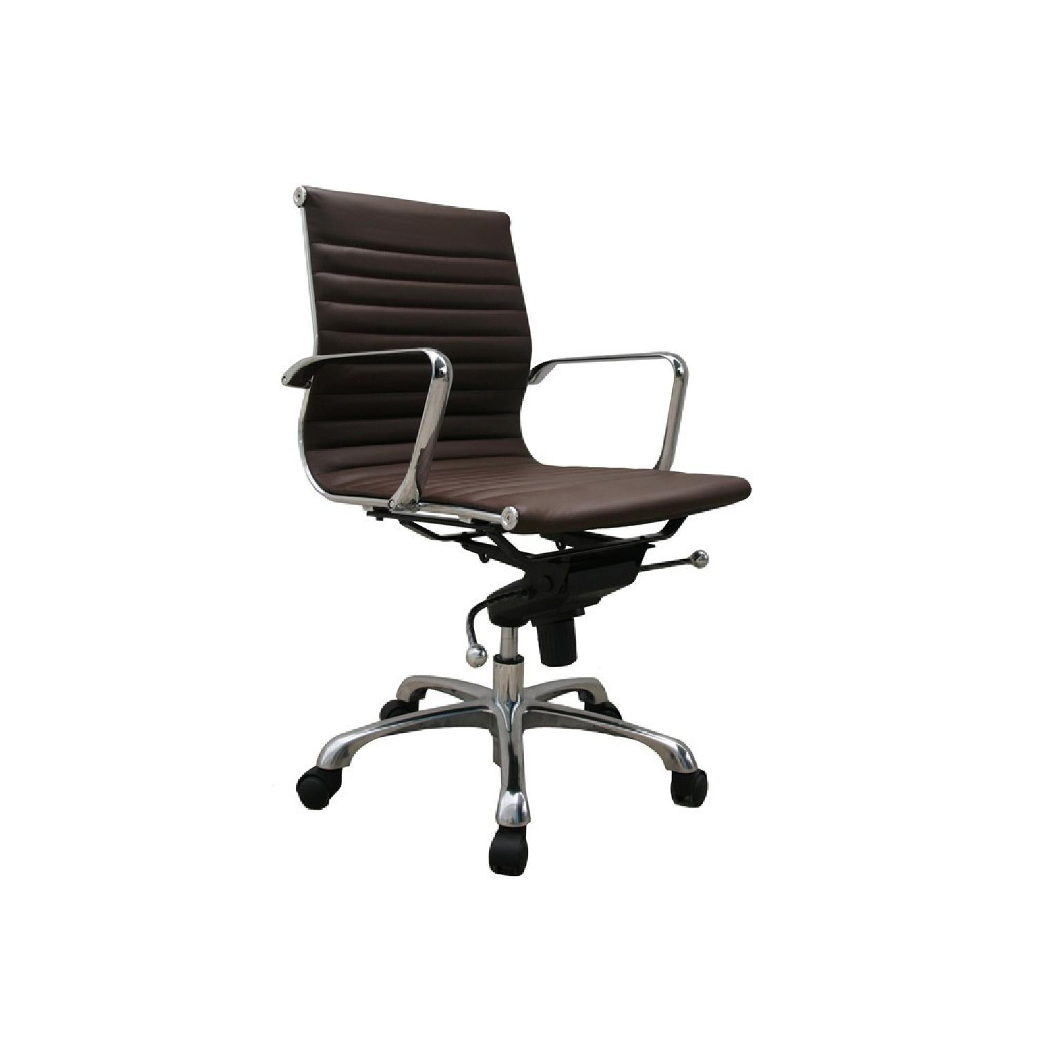 Modern Low Back Brown Leatherette Office Chair