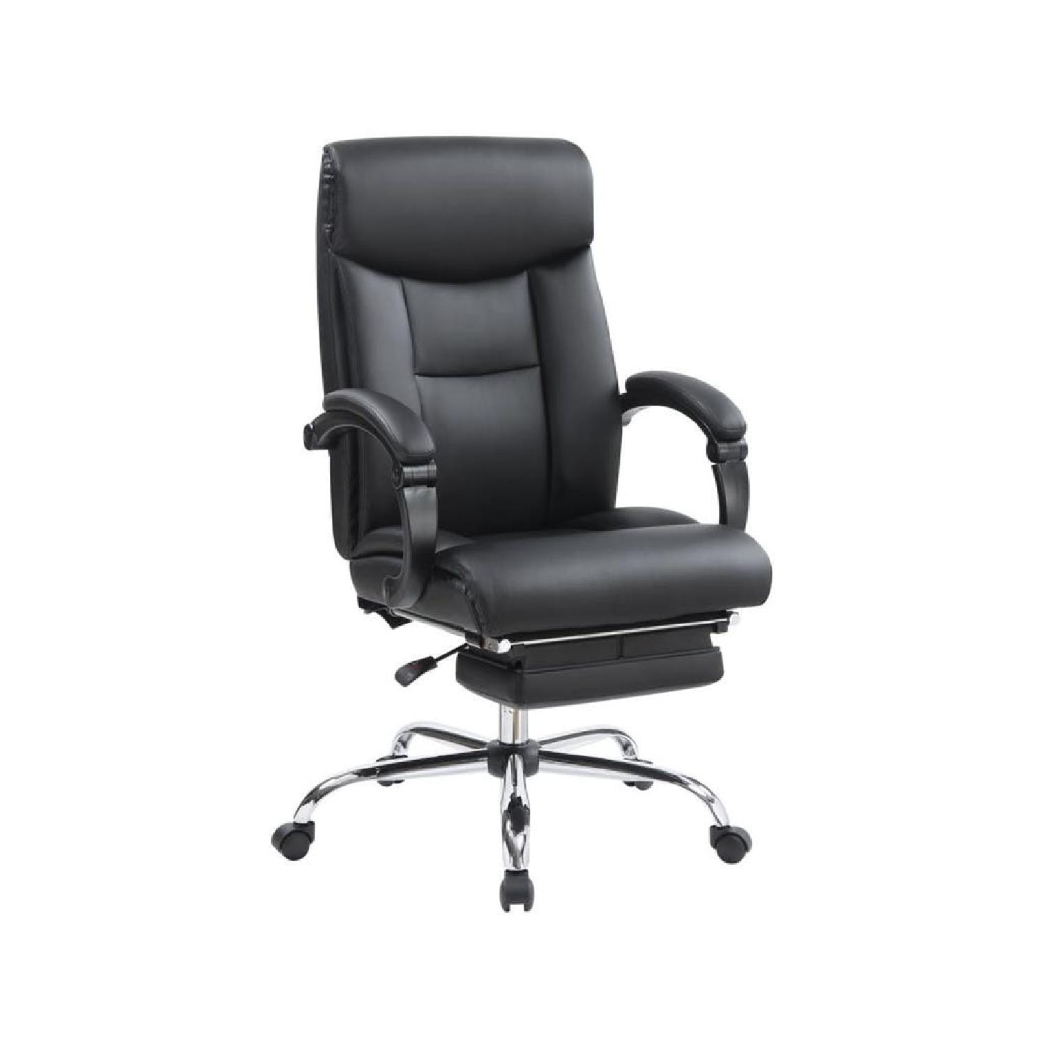 Black Leatherette High Back Ergonomic Recliner Office Chair