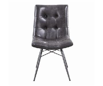 Retro Style Dining Chair in Charcoal Leatherette
