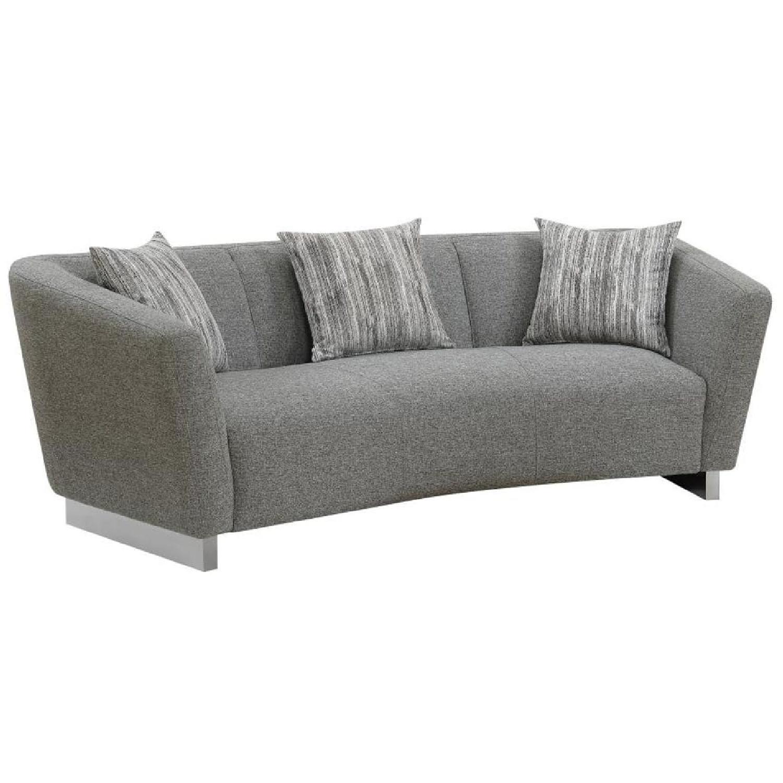 Modern Curved Back Sofa w/ Grey Woven Fabric & Steel Legs