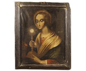 Antique Religious Italian Painting Oil Canvas 18th Century