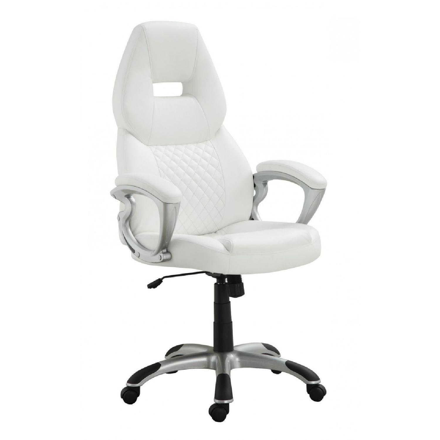 White Leatherette Contemporary Office Chair