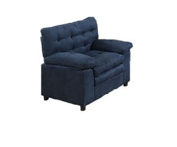 Poundex Blue Suede Accent Chair
