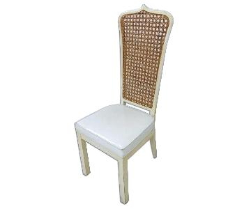 Vintage White Lacquer Caned Dining Chair
