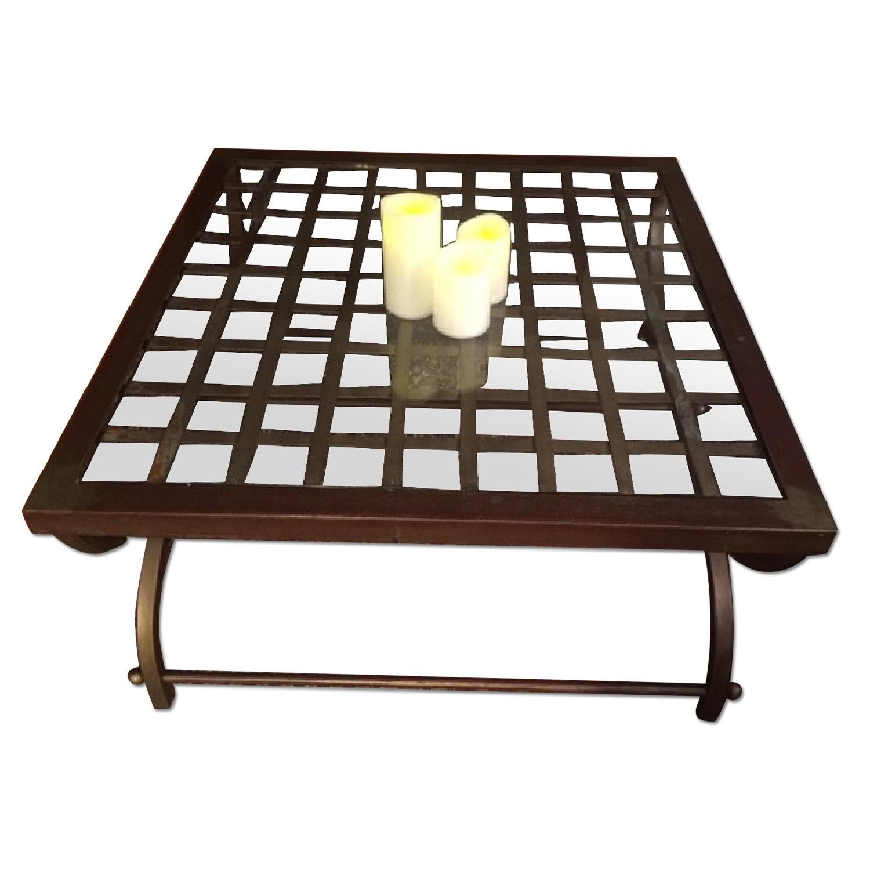 Pier 1 Brass Glass Lattice Work Coffee Table Aptdeco