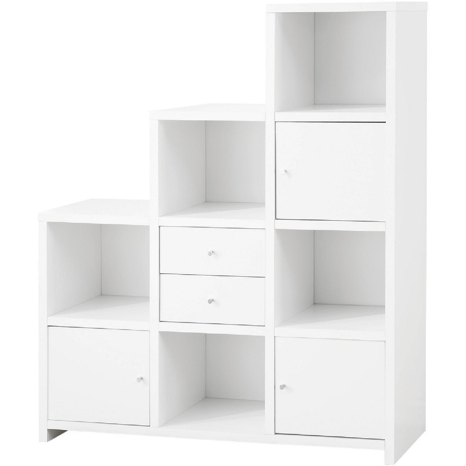 Bookshelf With Cube Storage Compartments in White Color