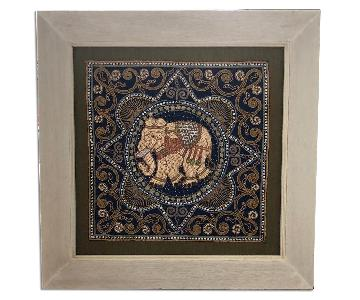 Beaded Fabric & Wood Elephants