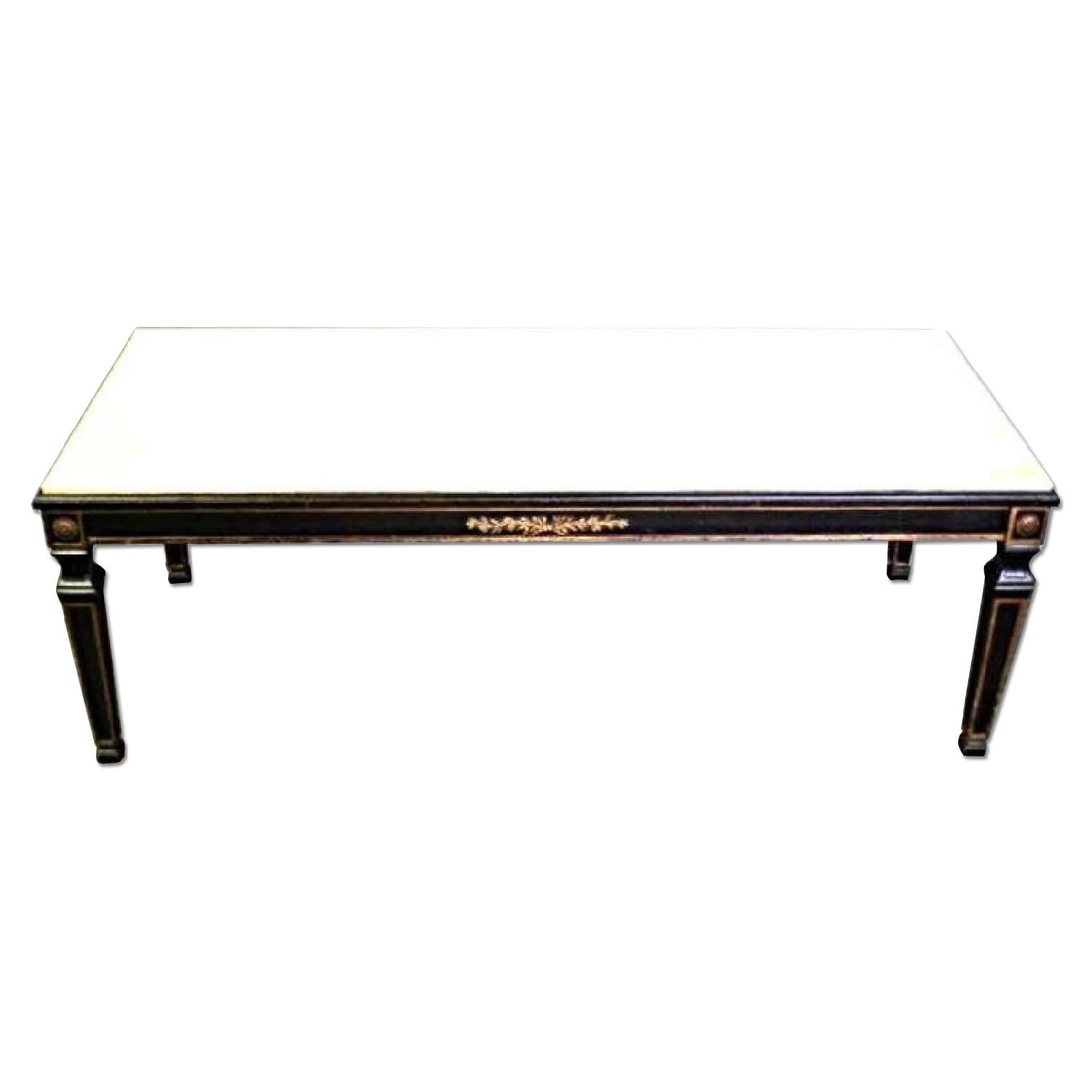 French Neoclassical Marble Top Cocktail Table Aptdeco
