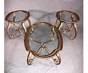Glass Oval Side Tables - Set of 3