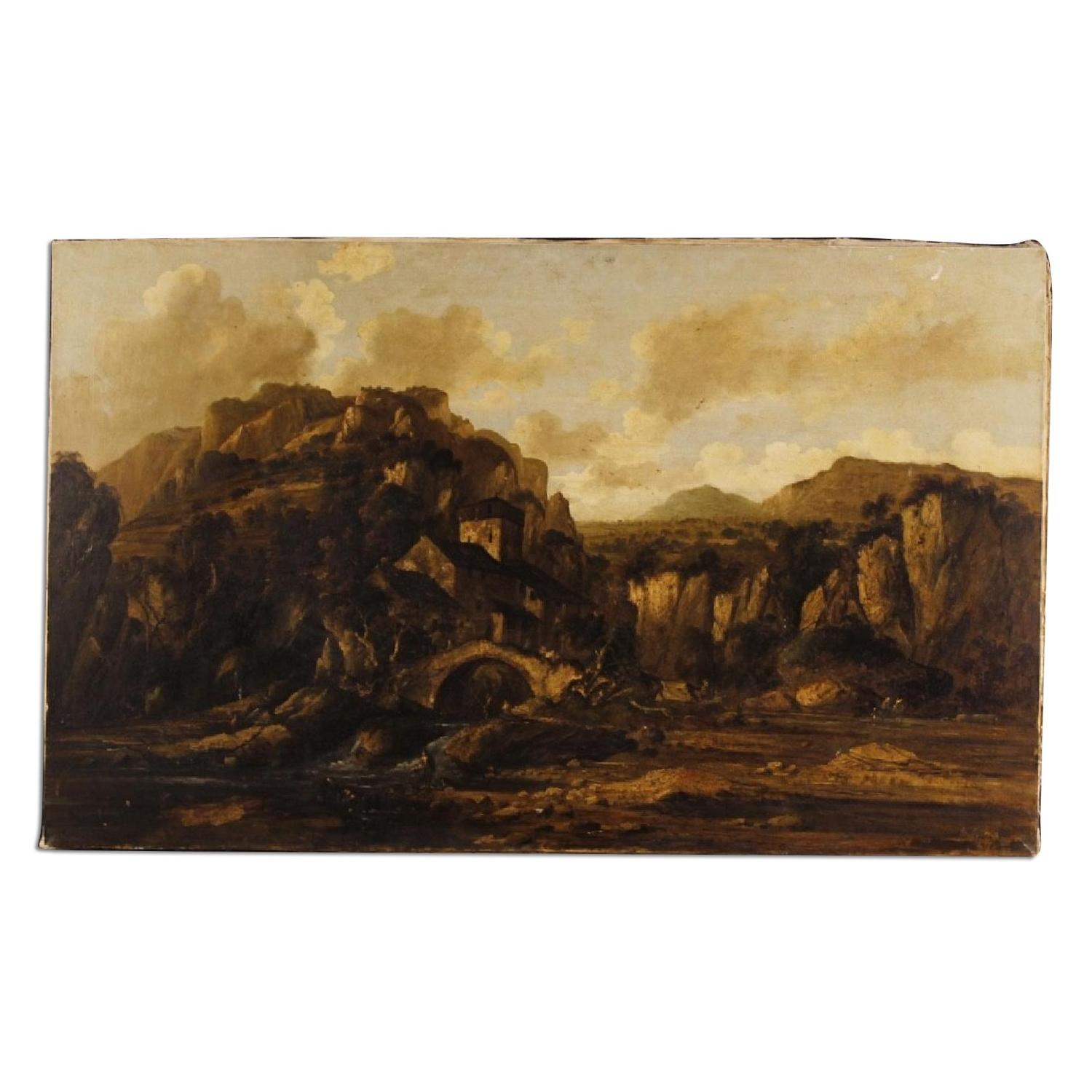 Italian Landscape Painting Oil On Canvas 20th Century
