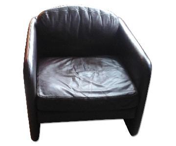 Mueller 1987 Burgundy Leather Club Chair