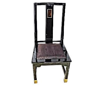 Black Lacquer Brass Inlaid Dining Side Chair