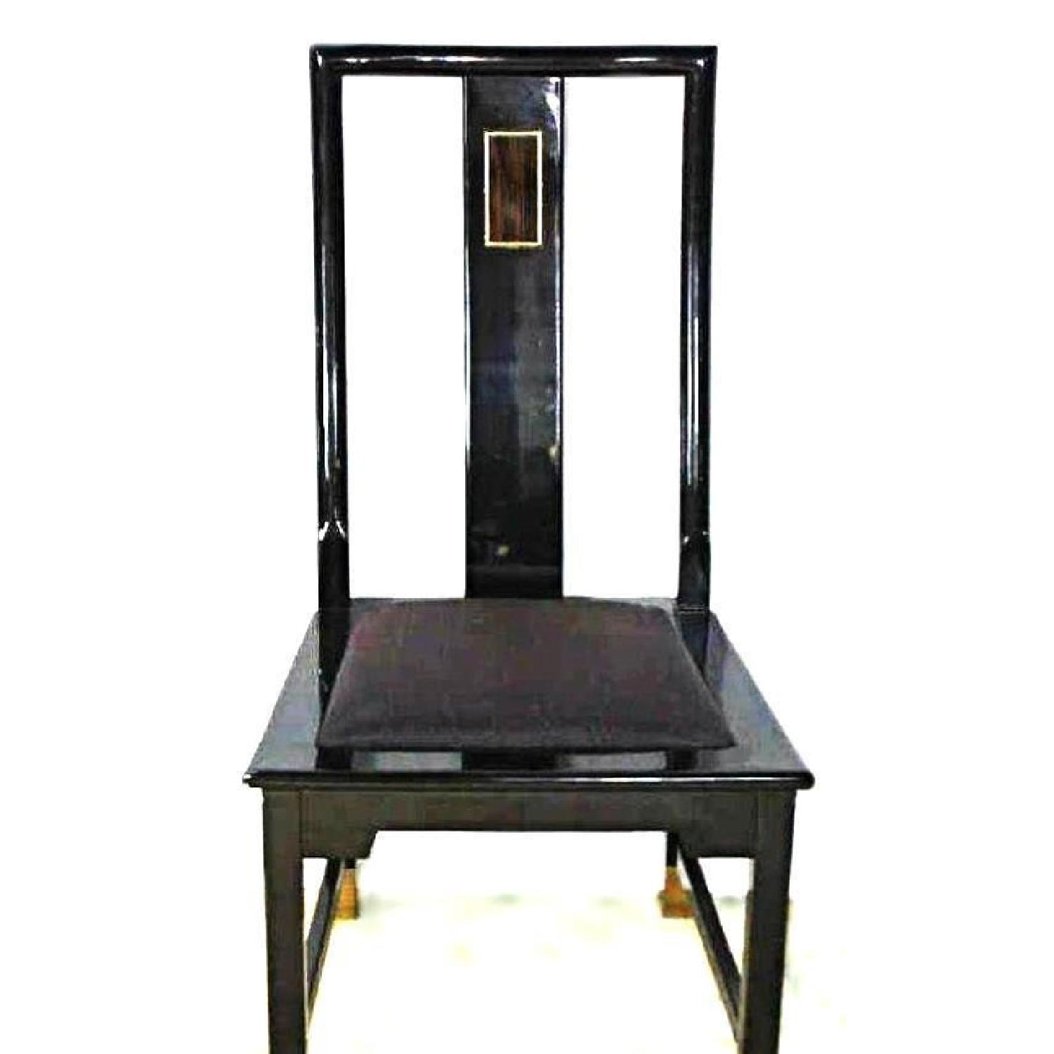 Black Lacquer Brass Inlaid Dining Side Chair-1