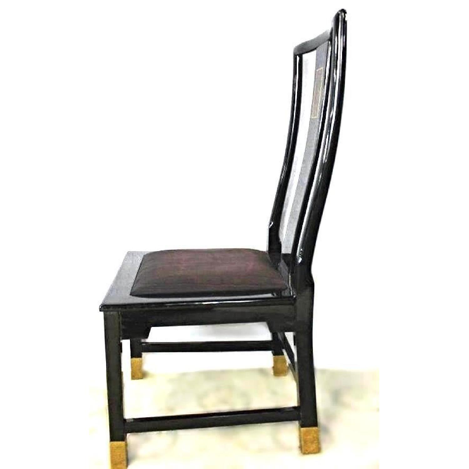 Black Lacquer Brass Inlaid Dining Side Chair-3