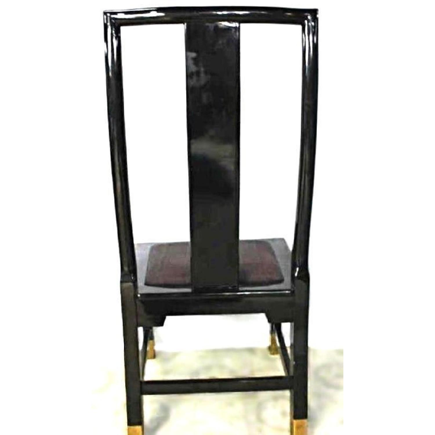 Black Lacquer Brass Inlaid Dining Side Chair-4