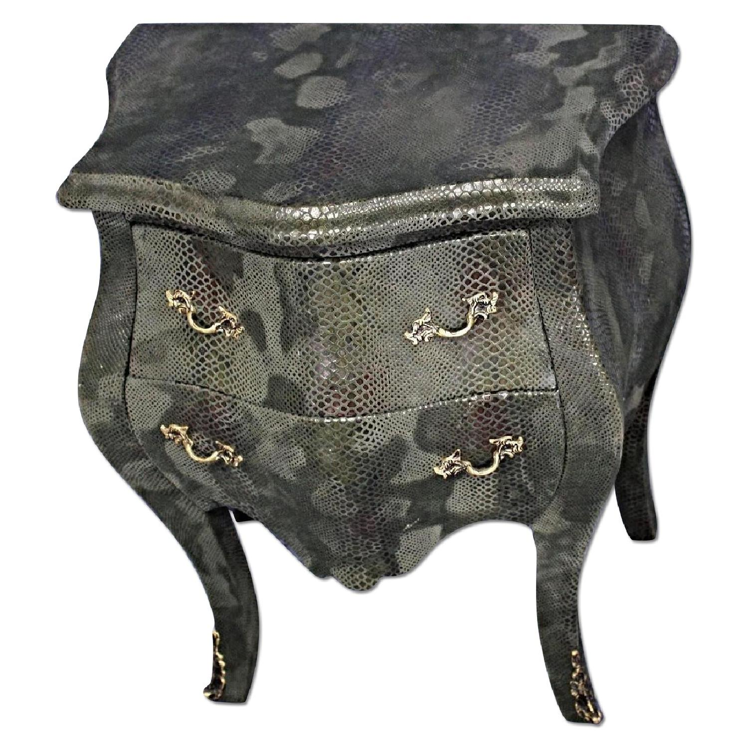 Louis XV Faux Snakeskin Bombe Chest/Nightstand