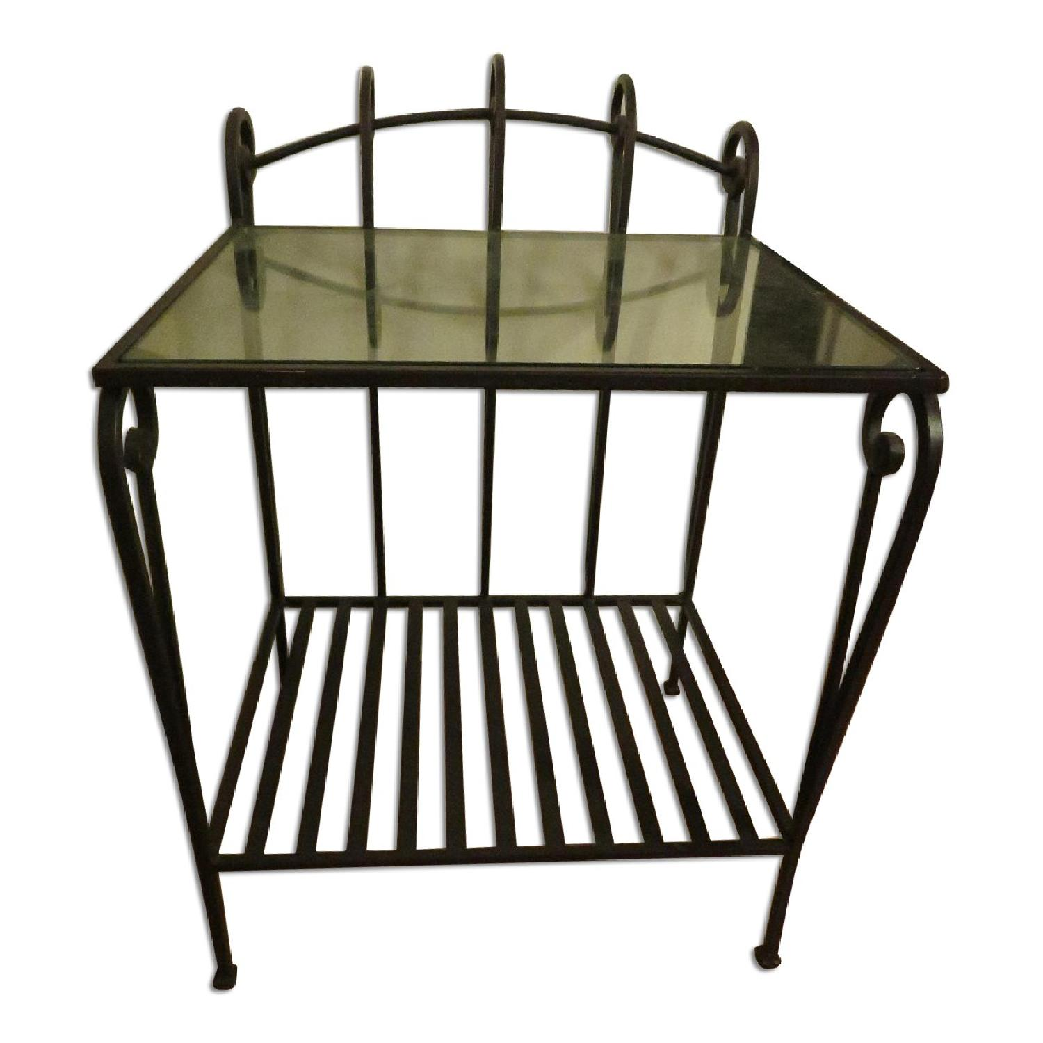 Cast iron glass top side table aptdeco for Cast iron table with glass top