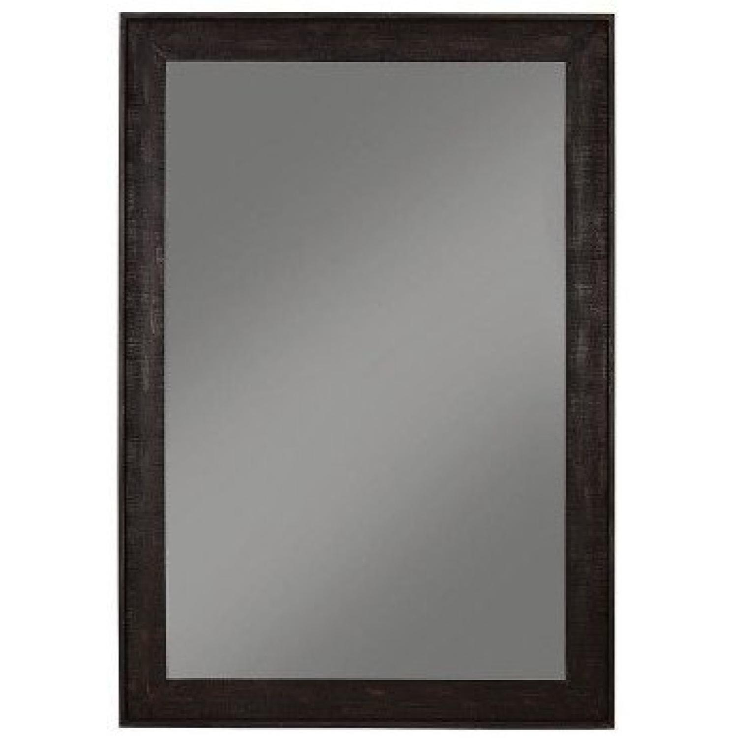 Out-Sized Floor Mirror w/ Distressed Black Frame