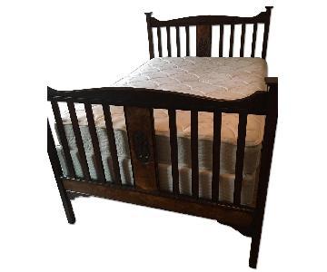 Antique Hand-Carved Wooden Bed Frame