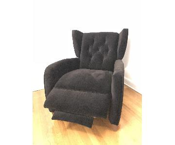 Ndesign Premium Recliner in Charcoal Fabric w/ Walnut Legs