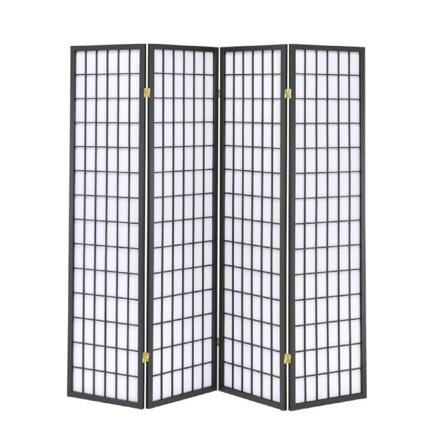 Simple Four Panel Folding Screen in Black Frame