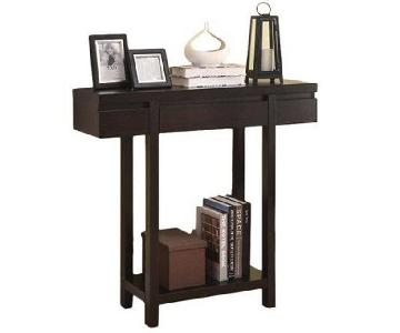 Modern Dark Brown Console Table w/ Drawer & Shelf