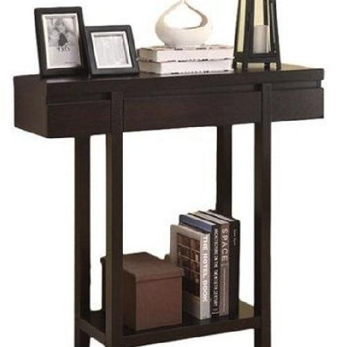 Used Modern Dark Brown Console Table w/ Drawer & Shelf for sale on AptDeco