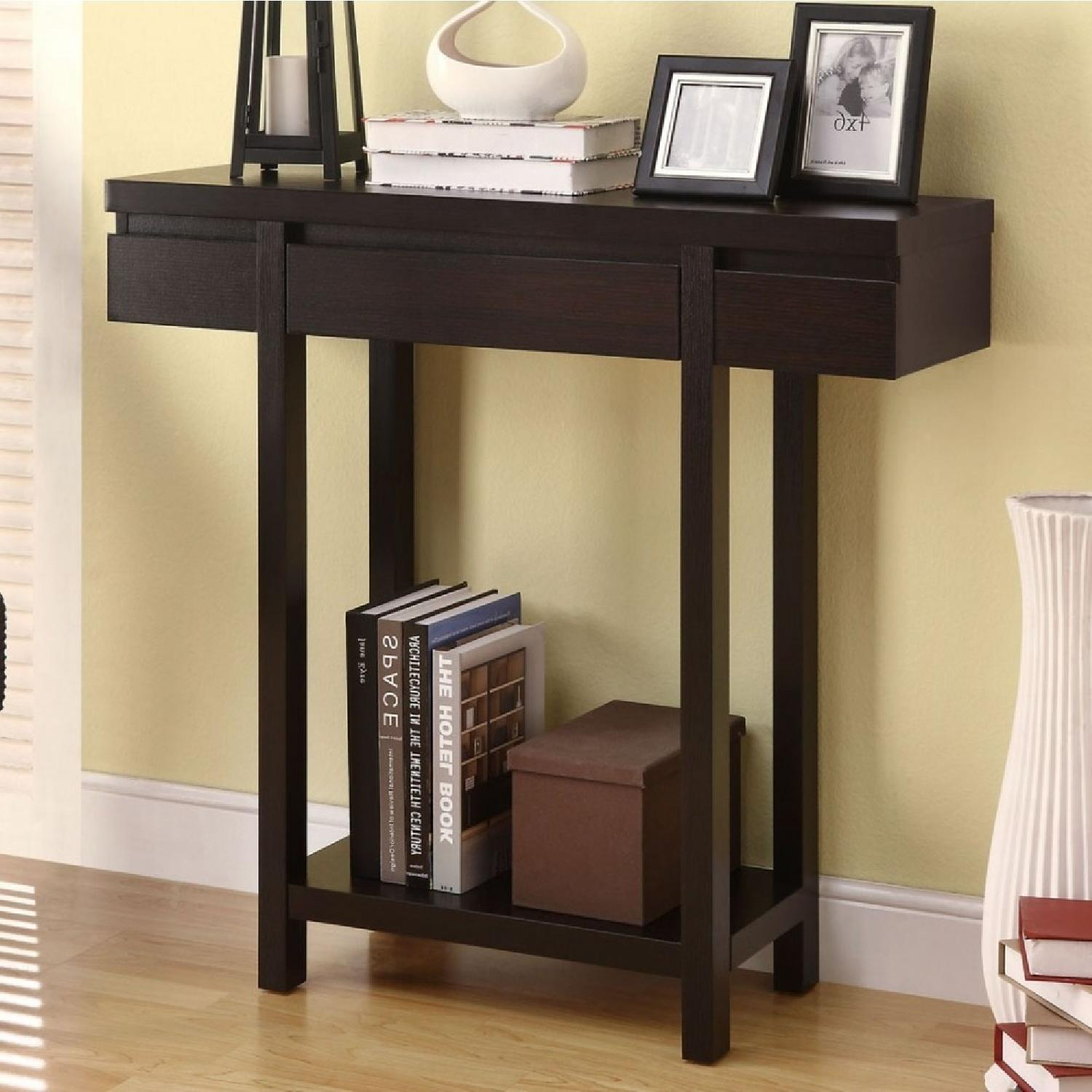 Modern Dark Brown Console Table w/ Drawer & Shelf-0