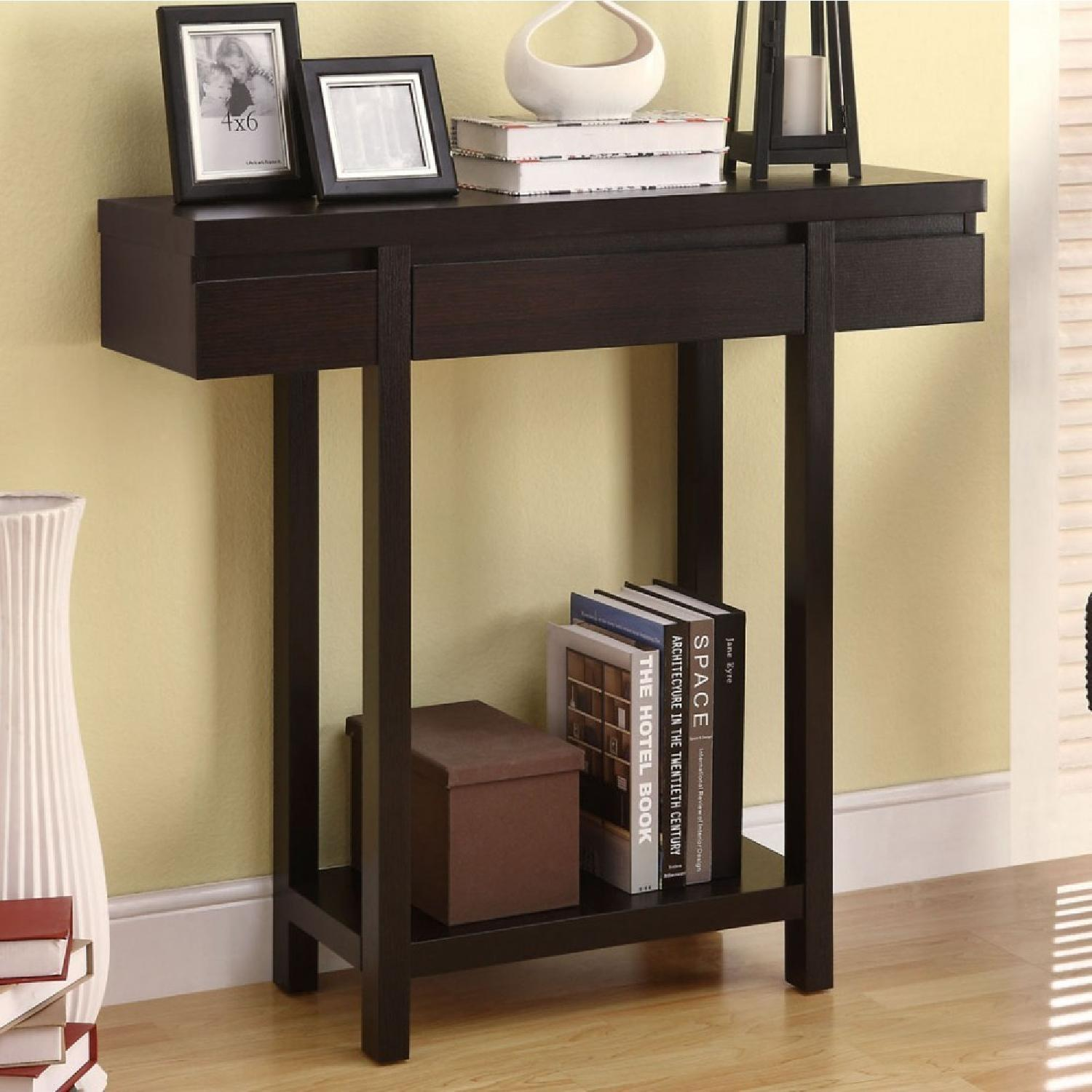 Modern Dark Brown Console Table w/ Drawer & Shelf-1