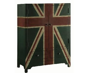 British Flag Themed Vintage Style Wine Cabinet