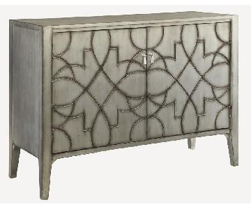 Modern Accent Cabinet in Light Grey w/ Carved Details