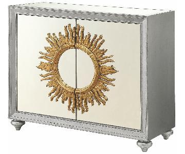 Trendy Accent Cabinet w/ Sun Motif & Mirror Doors & Top