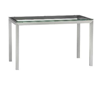 Crate & Barrel Stainless Steel & Glass Parson Dining Table