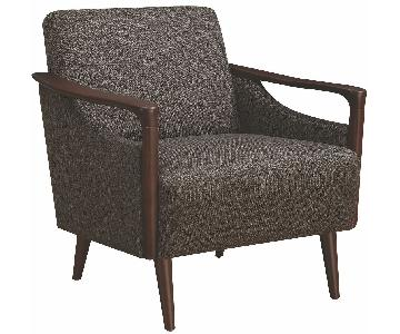 Mid-Century Modern Accent Chair in Brown Fabric w/ Wood Arms