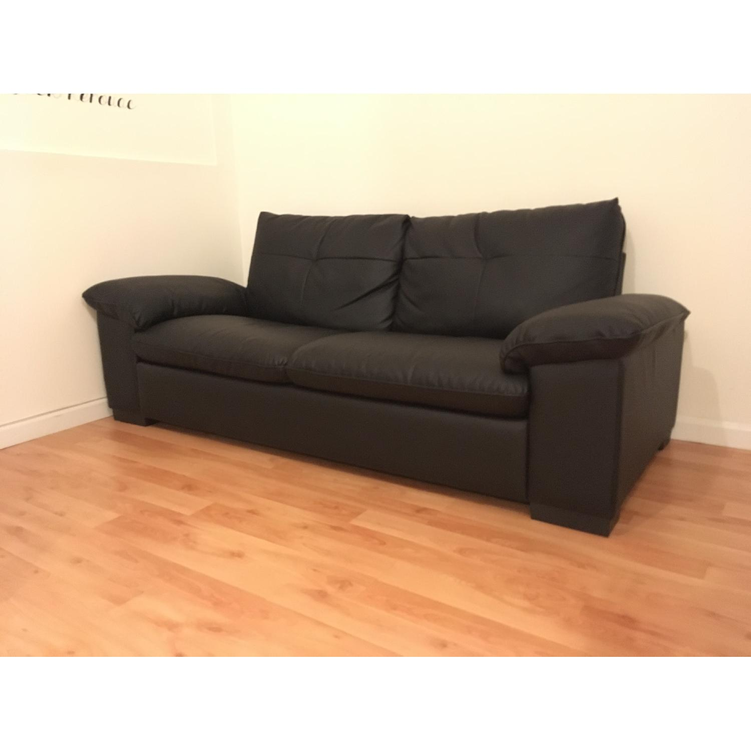 Ikea Dagstorp 2 Seat Black Leather Sofa Aptdeco