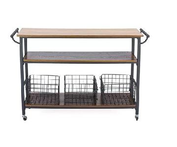 Fresnay Kitchen Island w/ Wooden Top