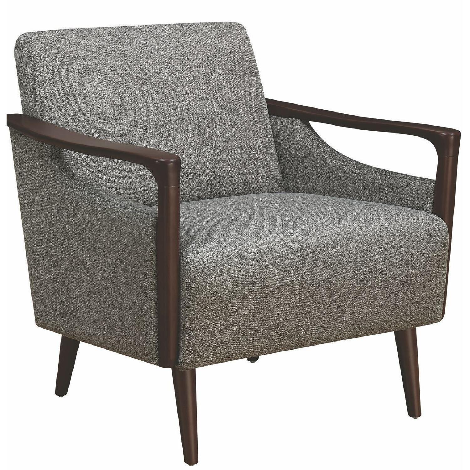 Mid-Century Modern Accent Chair In Grey Fabric W/ Wood