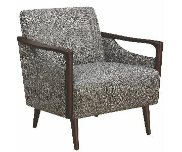 Mid-Century Modern Accent Chair in Grey Fabric w/ Wood Arms