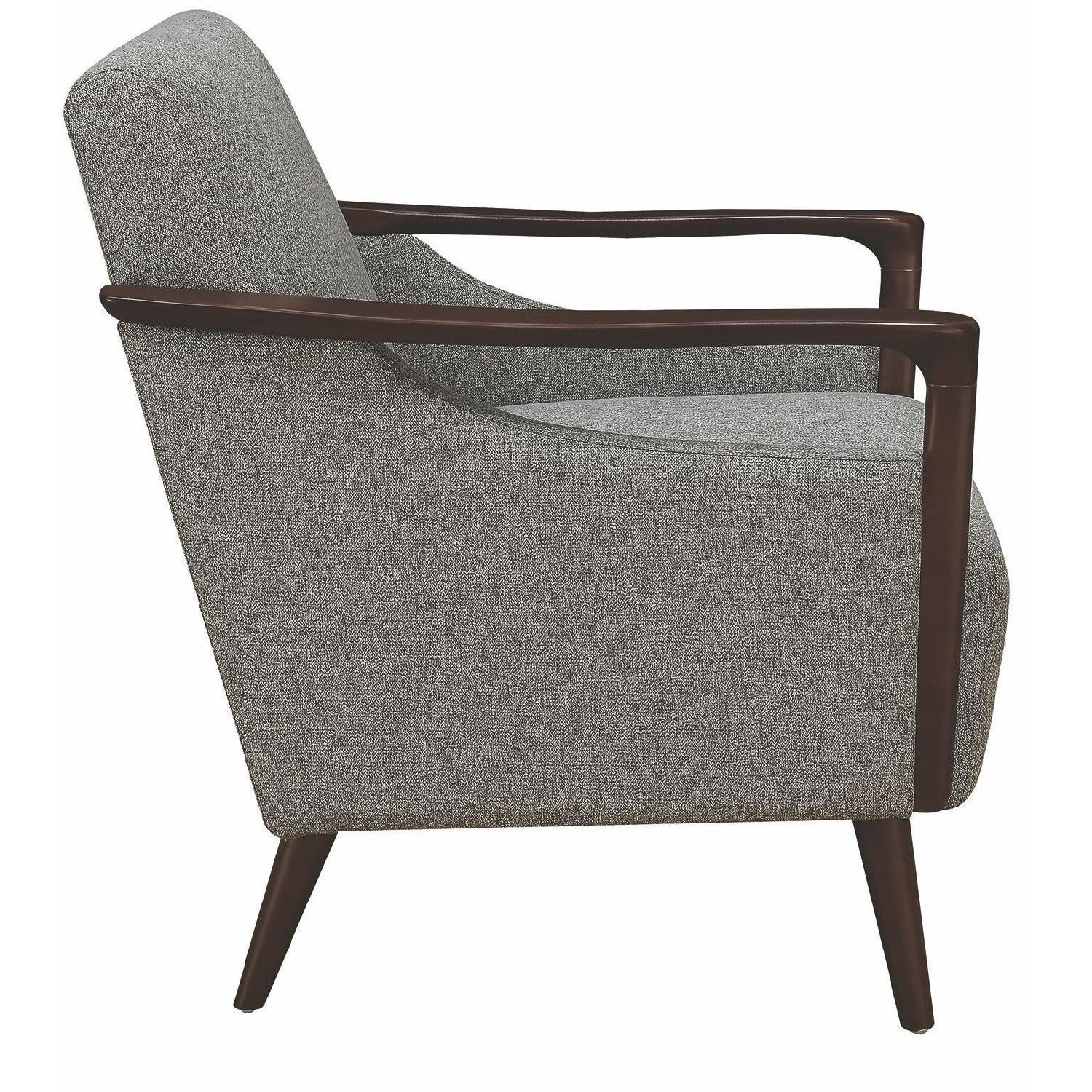 Mid century modern accent chair in grey fabric w wood
