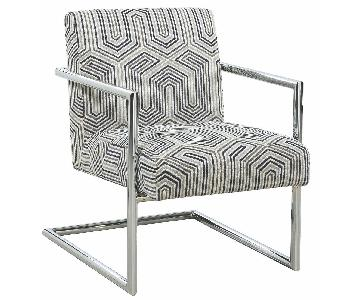Stylish Accent Chair w/ Geometric Cushions & Metal Frame